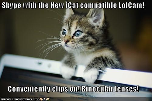 Skype with the New iCat compatible LolCam!   Conveniently clips on! Binocular lenses!