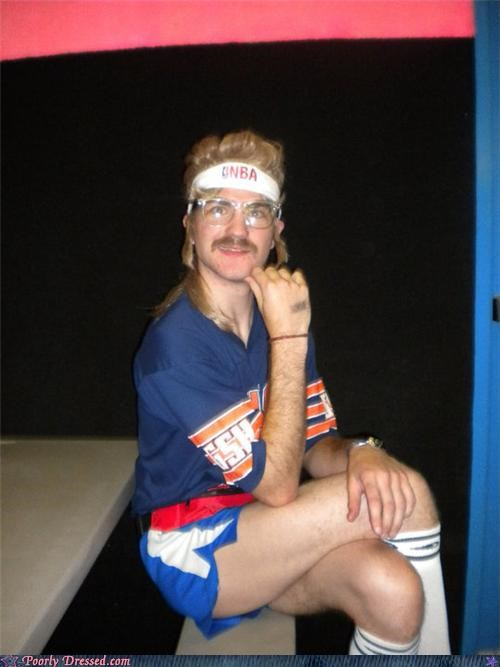 70s balla basketball mullet mustache - 4148704000
