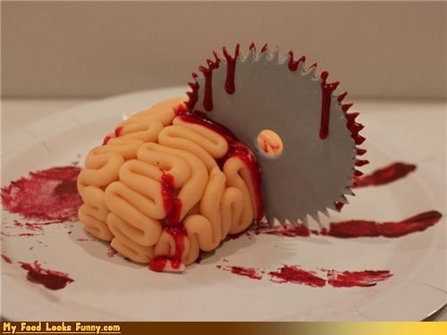 Blood brain cake fondant red velvet saw blade - 4149576704