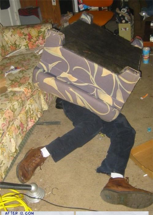couch,passed out,prank