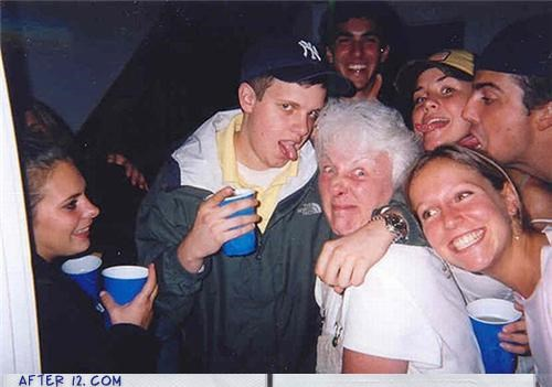 grandma,kids,old lady,Party,tongue,wtf