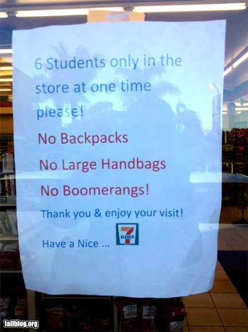 7-11 boomerangs failboat gas station oddly specific students