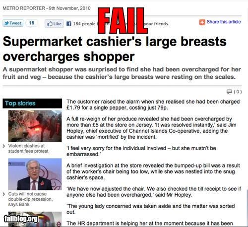 at work boobs cashier embarrassing failboat food grocery store news over charged weight - 4153624320