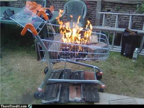 brick,fire,hobo,shopping cart,wood