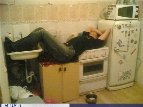 kitchen,passed out,sink