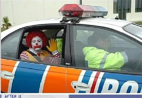 arrested,cop,police,Ronald McDonald