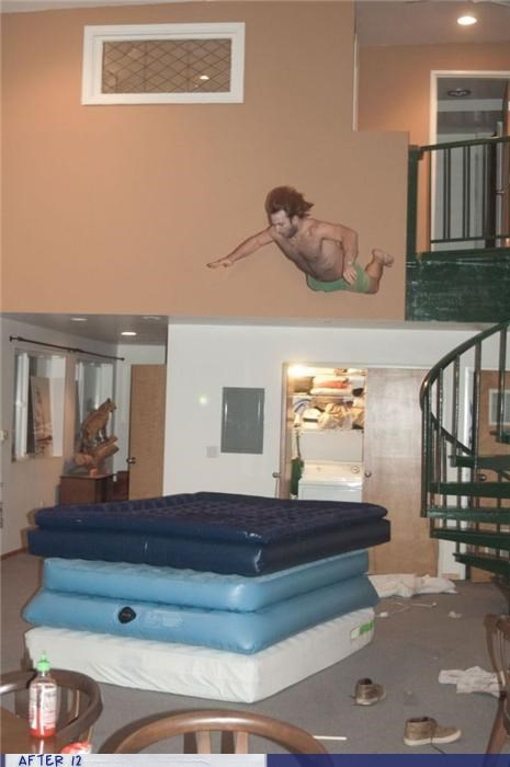 air mattress,bad idea,jump,loft