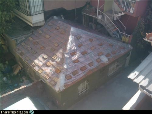 bricks house plastic roof - 4155168768