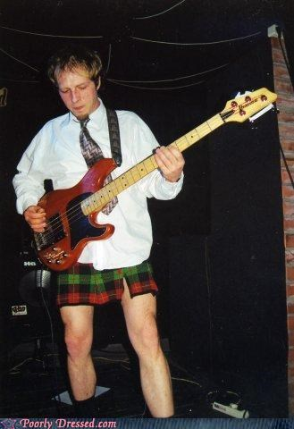 band,bass,kilt,skirt,tie