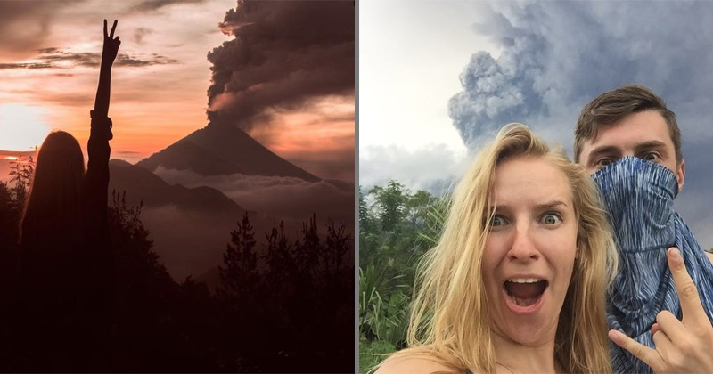 Tourists taking selfies at Mt. Agung after eruption of volcano, callous, criticism, tacky, instagram.