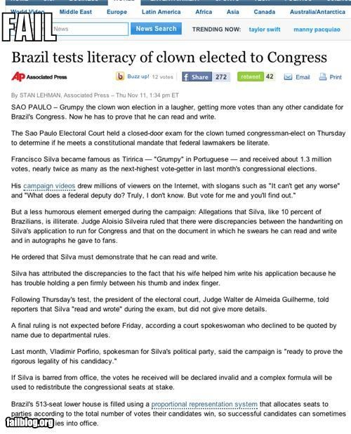 clowns,Congressional,elected,failboat,literacy,news,officially,oh Brazil,Probably bad News,tests