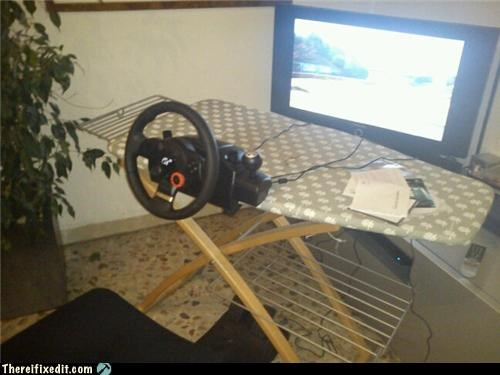 dual use,ironing board,nerd,steering wheel,video games