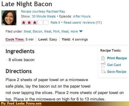 bacon,chef,easy,late night,late night bacon,Rachael Ray,recipe,simple recipes