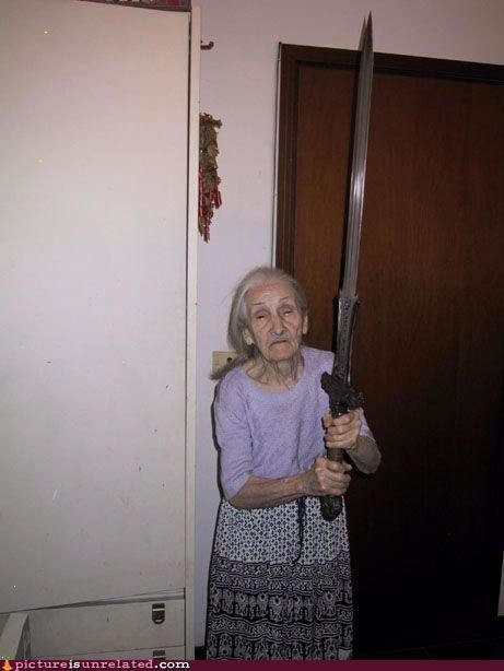 excalibur,magic,old lady,sword,wtf