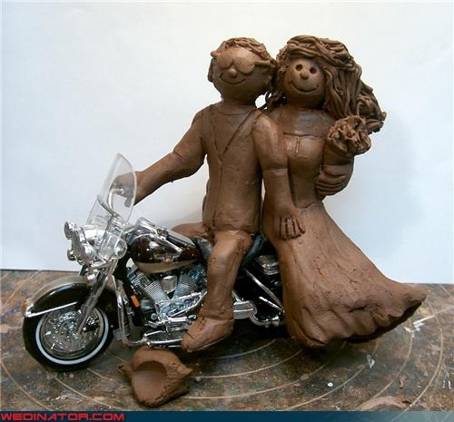 bride,cake toppers made of poo,chocolate cake toppers,Dreamcake,edible cake toppers,ew,eww,funny wedding photos,groom,Harley Davidson cake toppers,were-in-love,Wedding Themes