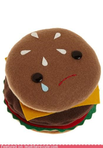 burger cheeseburger face Plush Sad soft - 4161513472