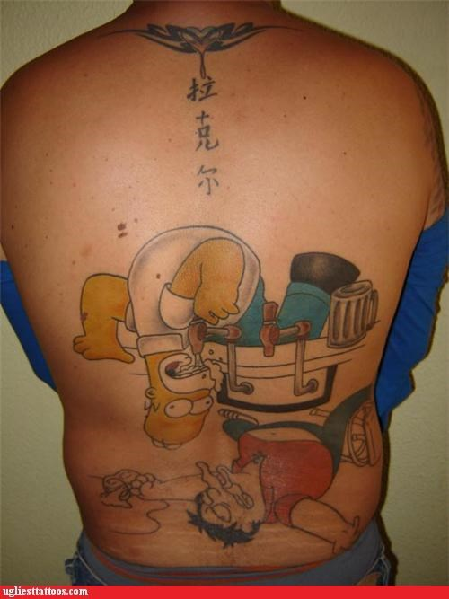 Asian characters back pieces drinking pop culture the simpsons tribal