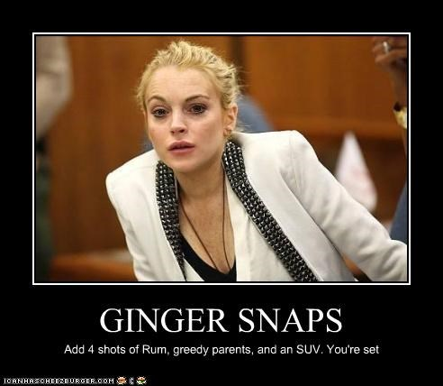 GINGER SNAPS Add 4 shots of Rum, greedy parents, and an SUV. You're set