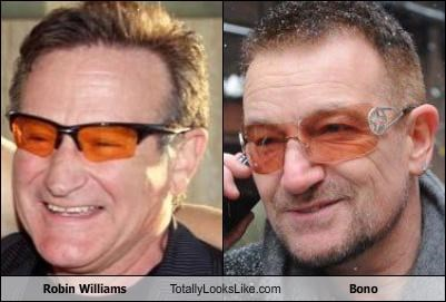 actors bono comedians musicians robin williams sunglasses