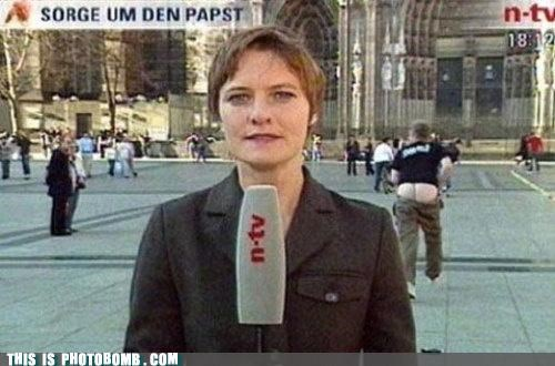 butts moon mooning news photobomb reporter