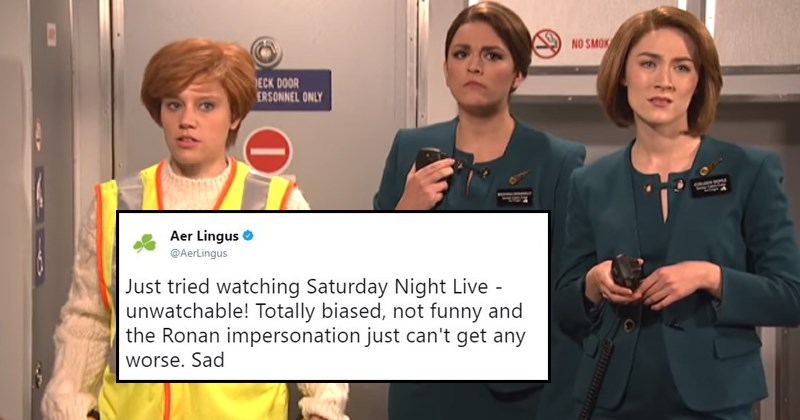 Twitter reactions to Saoirse Ronan's hosting of Saturday Night Live, Aer Lingus, Irish stereotypes, potatoes, dogs, sketch, comedy.