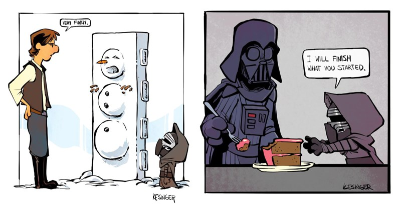 Cute and funny comics mashup combining Star Wars with Calbin and Hobbes, Brian Kesinger.