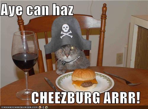 Aye can haz  CHEEZBURG ARRR!