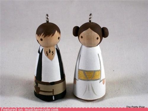 decoration,figurine,Han Solo,Princess Leia,star wars,tree,xmas ornament