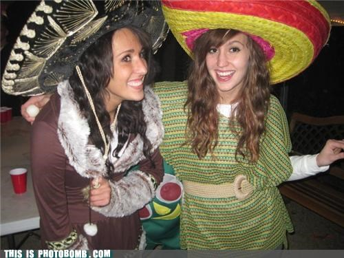 babes,costume,gumby,immigration,lol,photobomb,sombrero,wtf
