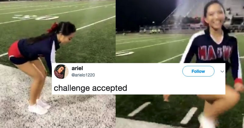People on the internet are shook over this video of a cheerleader stepping over an invisible box.