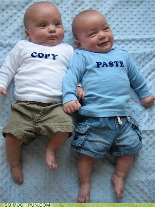 Babies baby commands copy ctrlc ctrlv cute fertility funny Paste shirts twins
