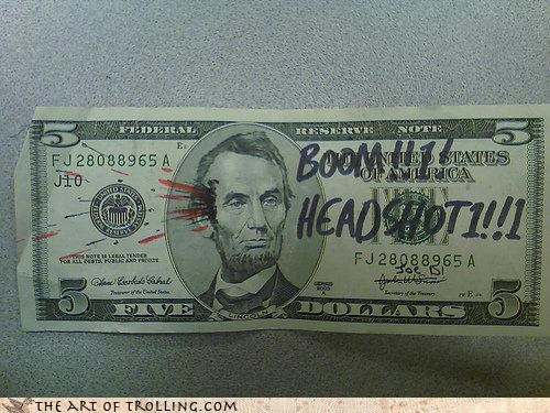 a fiver abraham lincoln boom dollar headshot IRL john wilkes booth - 4168397056