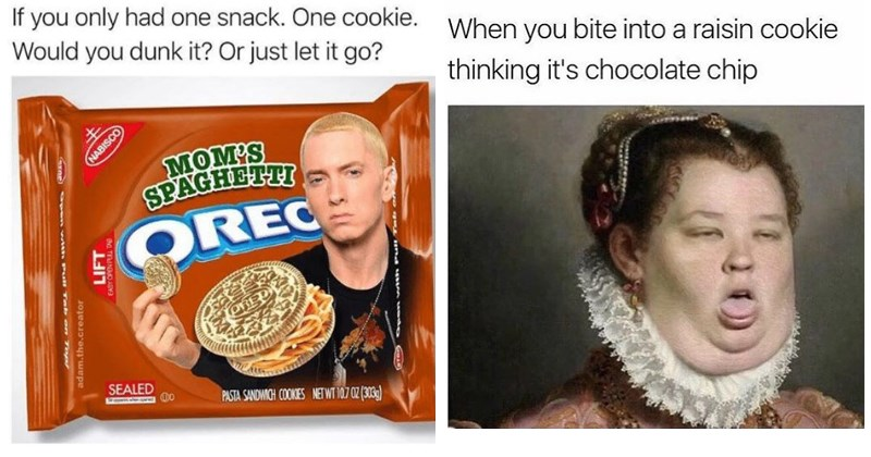 Funny memes about cookies, eminem, girl scout cookies, dessert, food, chocolate, raisins.