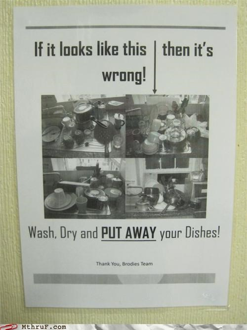 dishes,notes,passive aggressive,signs,sink