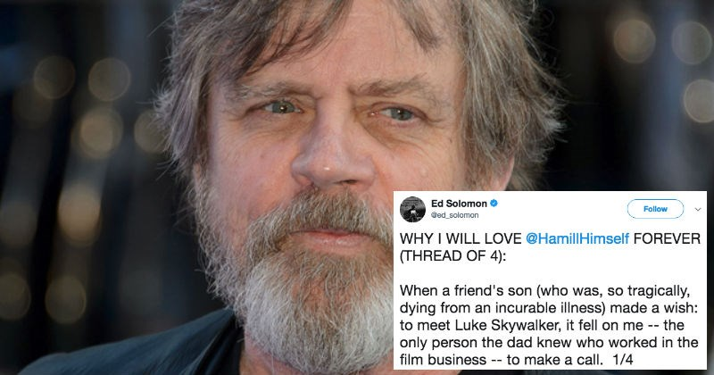Guy shares a heartwarming story on Twitter about Mark Hamill that'll overwhelm you with emotions.
