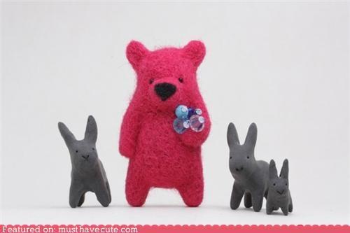 accessory bear brooch face felt felted figurine Jewelry sparkles - 4169363968