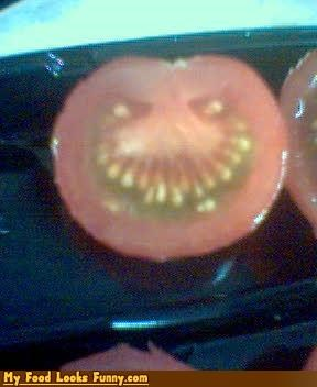 angry,face,fruits-veggies,killer tomato,seed teeth,seeds,tomato,trollface