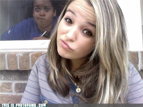 cool face eyebrow girl photobomb reaction