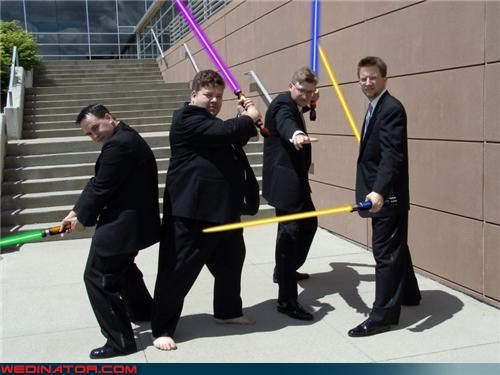 barefoot Jedi crazy groom fashion is my passion funny wedding photos groom groom wars groomsmen light sabers light saber nerds star wars star wars themed wedding technical difficulties unconvincing Jedi wedding party Wedding Themes