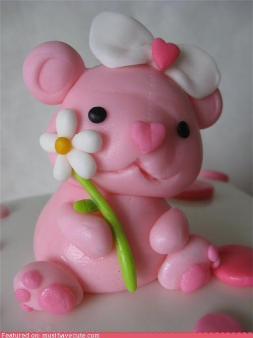 bear cake epicute fondant pink - 4171394304