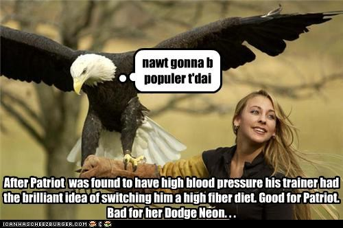 nawt gonna b populer t'dai After Patriot was found to have high blood pressure his trainer had the brilliant idea of switching him a high fiber diet. Good for Patriot. Bad for her Dodge Neon. . .