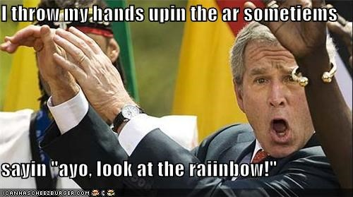 ay yo,bush,Celebriderp,president,put my hands in the air sometimes,rainbow,w