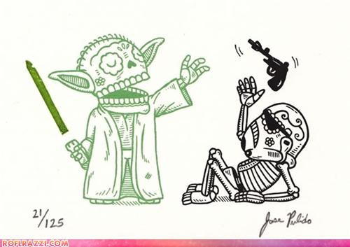 art Chewie sci fi star wars yoda - 4172065792