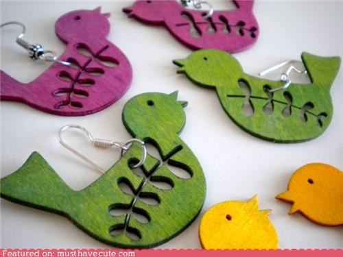 birds colorful earrings Jewelry wood - 4172246272