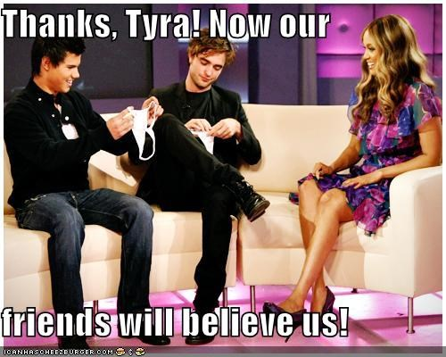 funny,lolz,robert pattinson,taylor lautner,TV,Tyra Banks