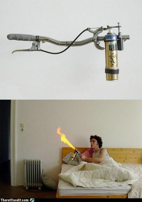 dangerous DIY flamethrower flammable