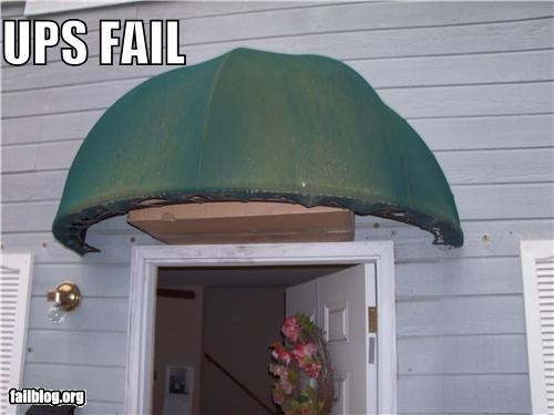 awning delivery failboat g rated hiding package UPS