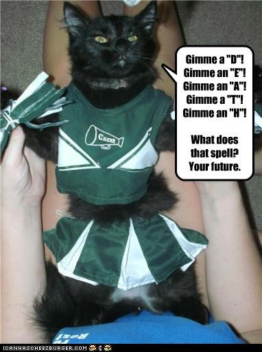 angry,caption,captioned,cat,chearleading,cheer,cheering,cheerleader,costume,Death,dressed up,future,pom poms,sarcasm,spelling,upset