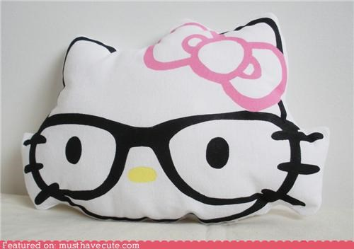 glasses hello kitty nerd Pillow printed - 4176356608