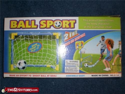 Ball Sport! This product benefit toes the body character of the exaltation child!